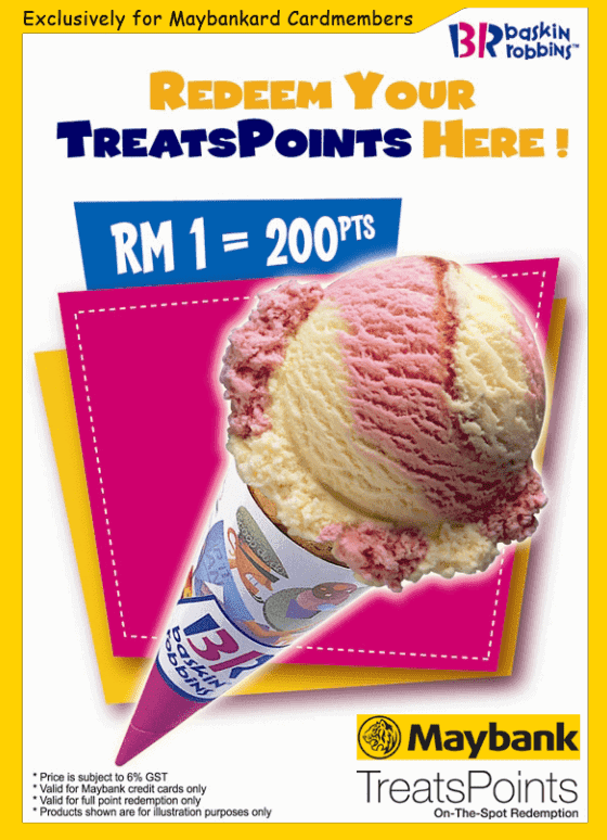 baskin robbins treat points maybank