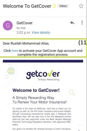 getcover activation email