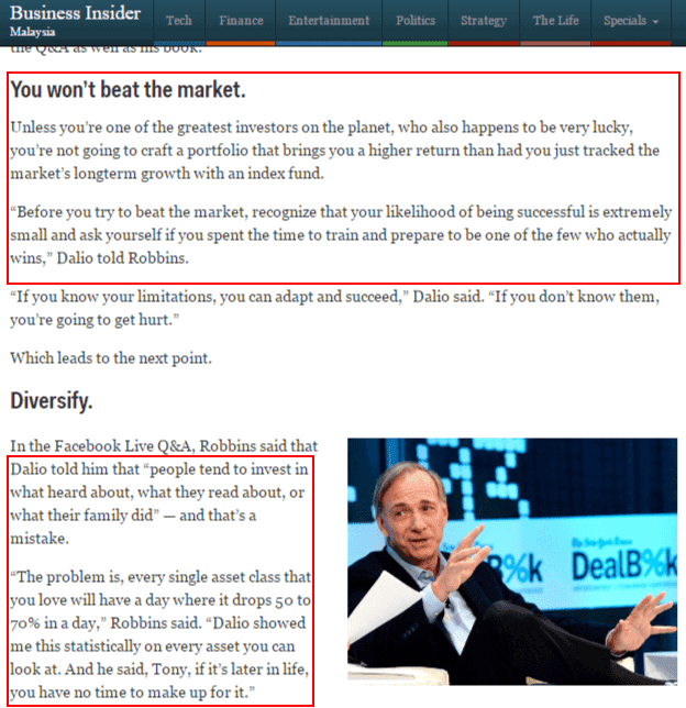 Ray Dalio on beating the market